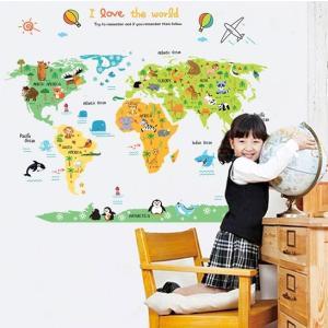 ウォールステッカー 動物 世界地図 壁シール カラーワールドマップ 国旗 剥がせる 世界一周旅行