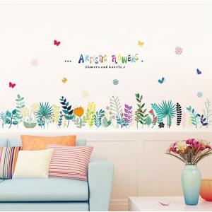 ウォールステッカー 花 クプクプの葉 壁紙シール かわいい 色合い あじさい 蝶 足元 結婚式ギフト|41wallsticker