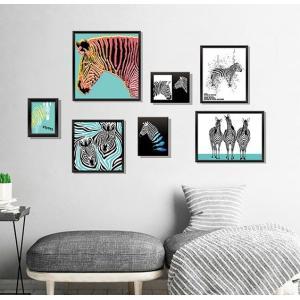 ウォールステッカー しまうま ストライプアート 壁飾り シール 写真枠 フレーム 動物 窓ガラス 賃貸可|41wallsticker