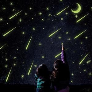 ウォールステッカー 流れ星 月 蛍光シール 綺麗な シューティングスター 剥がせる ムーン 蓄光 夜光|41wallsticker