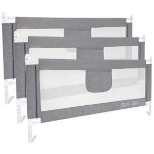 3枚セット ベッドフェンス ベットガード 無添加素材 布団ずれ 蹴り出し転落防止 取り付け簡単 (グレー3点セット )|488pista