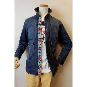 メンズファッション ブランド「カステルバジャック デザインデニムシャツ」前身のデザインポケット、背中...