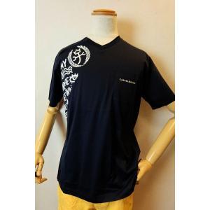 メンズファッション ブランド「カステルバジャック ポケット付きVネック半袖Tシャツ」右肩のロゴプリン...