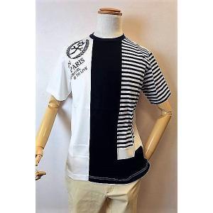 メンズファッション ブランド「カステルバジャック フロッキーロゴ切り替え半袖Tシャツ」凹凸のあるフロ...