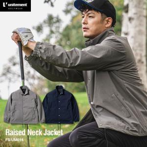 【ノベルティ付】ゴルフ レディース メンズ unitement Raised Neck Jacket 防風 撥水 保温 上着 ブルゾン ウインドブレーカー GOLF ゴルフウェア 秋 冬|4ss