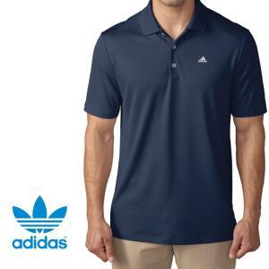 adidas アディダス ポロシャツ スポーツシャツ  ネイビー ad16 アメリカ限定 UVカット|5445