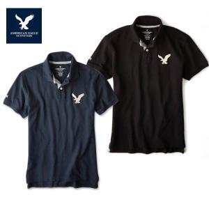 アメリカンイーグル ポロシャツ ビッグロゴ 半袖 メンズ AE American Eagle ae1705 ネイビー ブラック|5445
