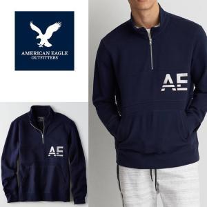 アメリカンイーグル AE スウェット メンズ ハーフジップ スウェット トレーナー American Eagle ae1908 ネイビー|5445