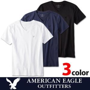 アメリカンイーグル 半袖 ワンポイント Tシャツ Vネック メンズ AE American Eagle ae1963 黒 白 紺 5445