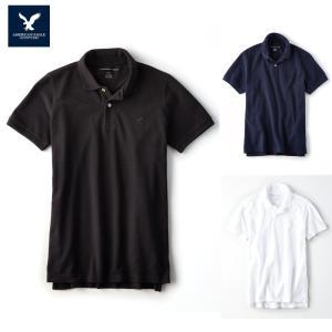 アメリカンイーグル ポロシャツ 半袖 メンズ AE American Eagle ae1995 紺 黒 白 XL 大きめ 送料無料|5445