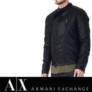 アルマーニ エクスチェンジ A/X メンズ フェイクレザージャケット ARMANI EXCHANGE ax554 ブラック|5445