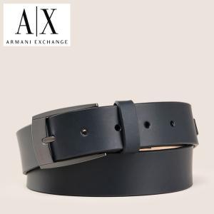 A/X アルマーニ・エクスチェンジ ARMANI EXCHANGE 正規 メンズ 本革ベルト レザーベルト ax658 ブラック|5445