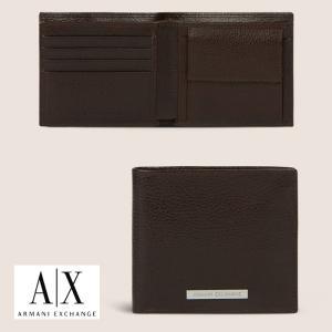 A/X アルマーニ エクスチェンジ 本革 2つ折り 財布 ARMANI EXCHANGE 正規 ax664 ブラウン|5445