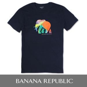 BANANA REPUBLIC バナナリパブリック メンズ Tシャツ 半袖 プリント USA直輸入 ブランド ba324 ネイビー 象|5445