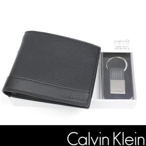 カルバンクライン 財布 キーホルダー CK ブラック パンチングレザー ck318|5445
