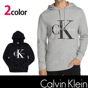 カルバンクライン CK  Calvin Klein フードパーカー クラシックロゴ プリント ブラック グレー ck336|5445