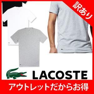 LACOSTE ラコステ メンズ ワンポイント Vネック Tシャツ la18 ホワイト グレー ブラック|5445