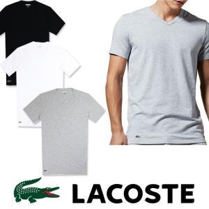 LACOSTE ラコステ メンズ ワンポイント Vネック Tシャツ ホワイト グレー ブラック la21|5445