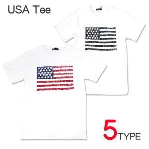 USAアメリカ国旗デザイン メンズ Tシャツ no407 白 ホワイト ゆうパケット送料無料|5445