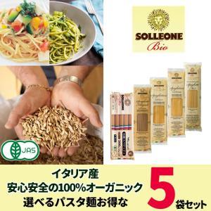 イタリア産 無農薬パスタ  有機デュラム小麦100% パスタ 乾麺 SOLLEONE Bio 5袋セット sol05 全粒粉 1.7mm 2mm スパゲッティ 5445