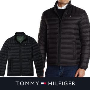 TOMMY HILFIGER トミーヒルフィガー メンズ ダウンジャケット ブラック 本格 収納袋付 t423|5445