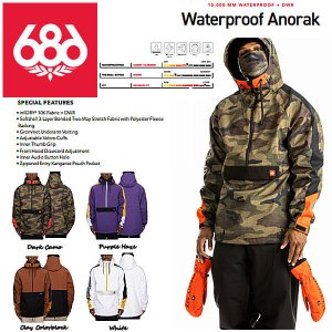 【予約受付中】【特典あり】【686】SIX EIGHT SIX OUTERWEAR 2021-2022 Waterproof Anorak メンズ スノージャケット アウター スノーウェア|54tide