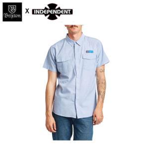 ブリクストン BRIXTON x INDEPENDENT インディペンデント メンズ 半袖シャツ ボタンダウンシャツ ワイシャツ トップス OFFICER S/S WOVEN|54tide