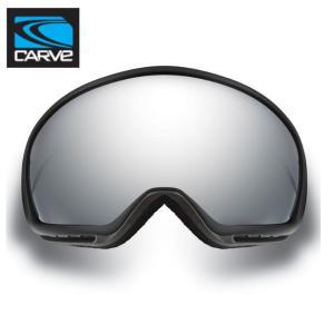 【CARVE】カーブ First track スノーゴーグル フレームレス 球面ゴーグル MattBlack Grey Hi-light Lens wiyh Silver Mirror Iridium レディース ジュニア向け|54tide