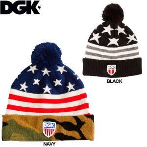 メンズビーニー 帽子 ディージーケー DGK AMERICANA POM BEANIE|54tide