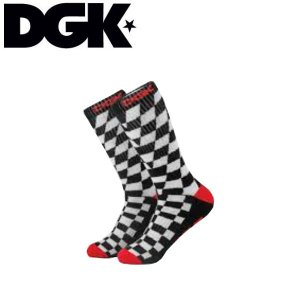 ディージーケー DGK メンズ 靴下 ソックス スケートボード スケボー ストリート CHECKER Illusion Crew Sock|54tide