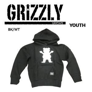 グリズリー GRIZZLY キッズ プルオーバーパーカー 長袖 トップス ボーイズ スケートボード S・M・L WOODLAND OG BEAR YOUTH HOODIE|54tide