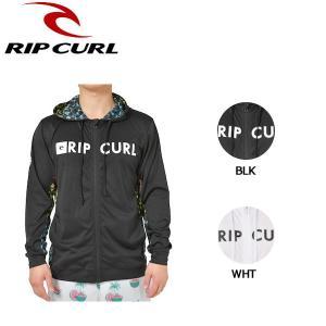 リップカール RIP CURL メンズ 長袖 ラッシュパーカー ラッシュガード ジップアップパーカー トップス S・M・L BLK WHT L/S RASH HOODY|54tide