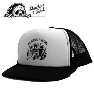 スケッチータンク SKETCHY TANK メンズメッシュキャップ スナップバック 帽子 WHITE/BLACK B.T.T MESH SNAP BACK|54tide