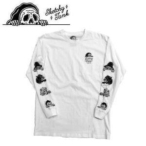 スケッチータンク SKETCHY TANK メンズ 長袖Tシャツ ティーシャツ ロングスリーブ ロンT トップス S・M・L WHITE LURKING L/S TEE|54tide
