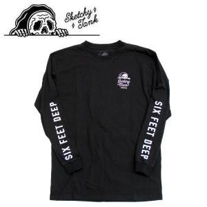 スケッチータンク SKETCHY TANK メンズ 長袖Tシャツ ティーシャツ ロングスリーブ ロンT トップス S・M・L BLACK SIX FEET DEEP L/S TEE|54tide