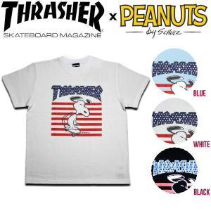 スラッシャー ピーナッツ コラボ THRASHER PEANUTS キッズ 半袖Tシャツ スヌーピー ロゴ KIDS TEE ティーシャツ 子供用 110・130・150 3カラー|54tide