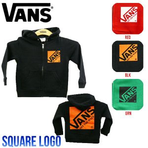 VANS バンズ Square Logo Boys Zip Up Hooded Sweat ボーイズ長袖パーカー ジップアップパーカー キッズパーカー|54tide