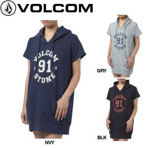 正規品 VOLCOM ボルコム BOLD STONE SWEAT DRESS レディース半袖プルオーバーパーカーワンピ ワンピース 54tide
