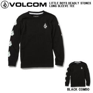 ボルコム VOLCOM LITTLE BOYS DEADLYSTONES LONG SLEEVE TEE キッズ 子供用 ロングスリーブ Tシャツ ロンT 長袖  5/6/7サイズ BLACK COMBO【正規品】|54tide