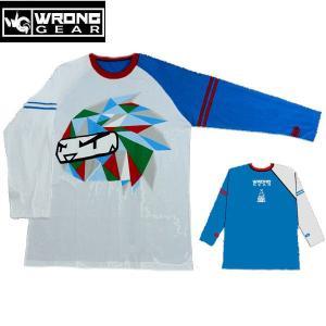 ロングギア WRONG GEAR GAMBESON Mai Hiro メンズ長袖Tシャツ クルーネック TEE ラグランスリーブティーシャツ Blue XL|54tide
