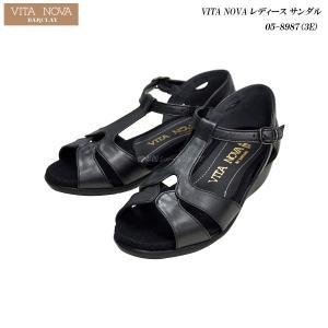VITA NOVA/ヴィタノーヴァ/レディース/サンダル/05-8987/3E/ブラックメタ/ 55fujiya