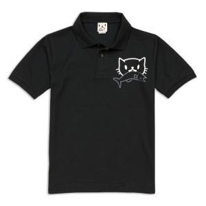 ポロシャツ メンズ レディース 半袖 猫 お魚くわえたどらね...