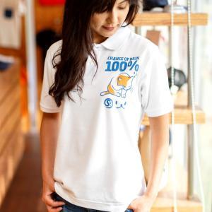 ポロシャツ メンズ レディース 半袖 猫 RAIN 100%...
