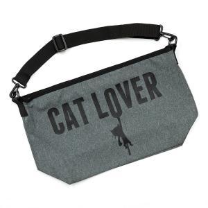 メッセンジャーバッグ 猫 CAT LOVER ( ヘザーチャ...