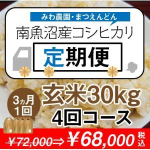 【定期便】玄米30kg×4回(3カ月毎1年コース)南魚沼産コシヒカリ ※新米から開始(10月中旬以降)|5602miwa