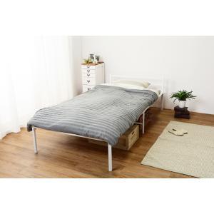 ベッド シングル ベッドフレーム おしゃれ パイプベッド スチール メッシュ 通気性 フレームのみ シングルベッド 白(ホワイト) KH-3085WH 5stella