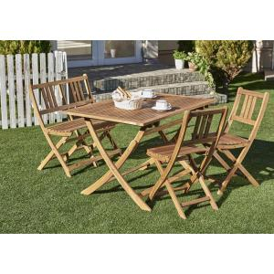 ガーデンテーブルセット ガーデンチェア 折りたたみ ベンチ 木製 アカシア ガーデンファニチャー 4点セット(テーブル+チェア2脚+ベンチ1脚 2Pタイプ W120)|5stella