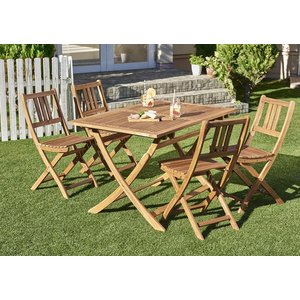 ガーデンテーブルセット ガーデンチェア 折りたたみ収納 5点 木製 アカシア 天然木 ガーデンファニチャー Efica  5点セット(テーブル+チェア4脚)|5stella