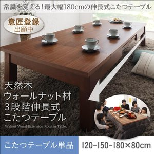 こたつテーブル こたつ 長方形 おしゃれ 長テーブル 伸長式 エクステンション 木目 北欧 ローテーブル 天然木 おしゃれ (80×120〜180cm)単品 5stella