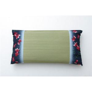 低反発ウレタンチップ入り い草枕 低反発枕 箱付 ブルー 約50×30cm|5stella